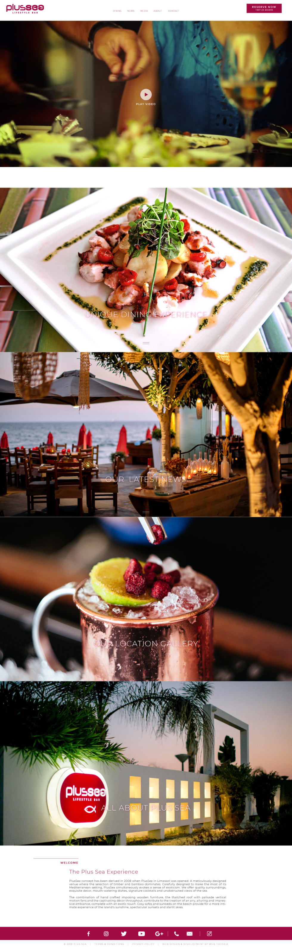 Website design for beach bar restaurant. Images of plates, drinks, and views cover the entire page in even sections.
