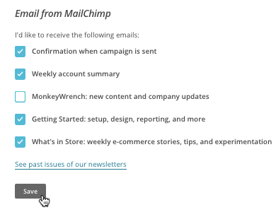 Email from Mailchimp section with save button.