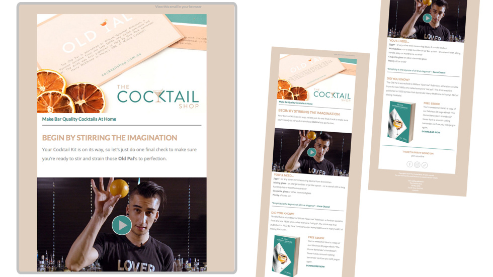 Image of the cocktail shop newsletter