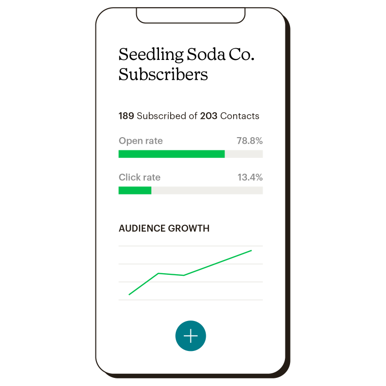 Mobile dashboard view showing the Seedling Soda Co. subscriber data like open rate, click rate and audience growth.