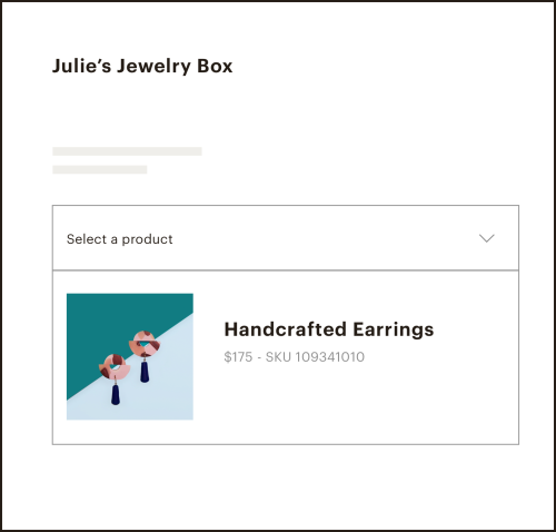 Image of a dropdown for selecting products in Julie's Jewelry Box landing page