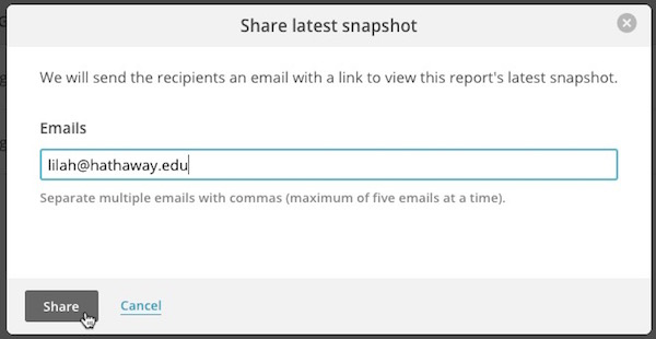 Pop-up modal showing example of email to share Snapshot with.