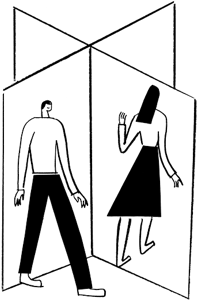 An illustration of two people in doorways.