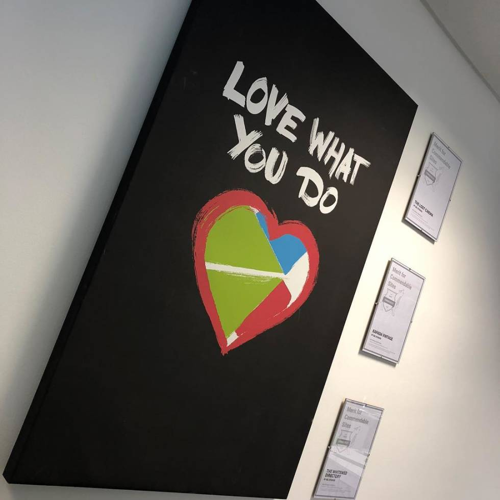 "Image of a heart with the words ""Love what you do"" written above it."