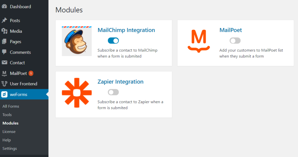 Screenshot of the weForms integration