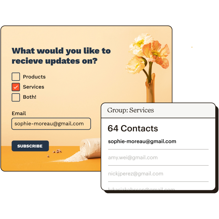Form asking What would you like to receive updates on? with Services checked and an in-app services group showing a list of emails.