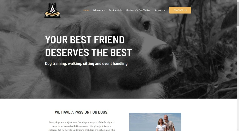 Website screenshot with image background of black and white photo of puppy. Bold, white text overlays as CTA. Logo in top left corner along with navigation bar. Color scheme is yellow, black, white, and grey.