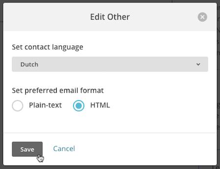 Modal emergentepara editar el idioma delsuscriptorcon el cursor haciendo clic en el botón Guardar.