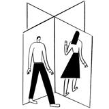 Illustration of people going through a breezeway