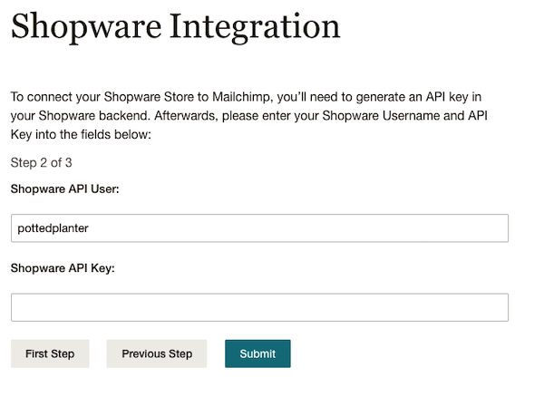 Enter Shopware API Key - Mc4Shopware