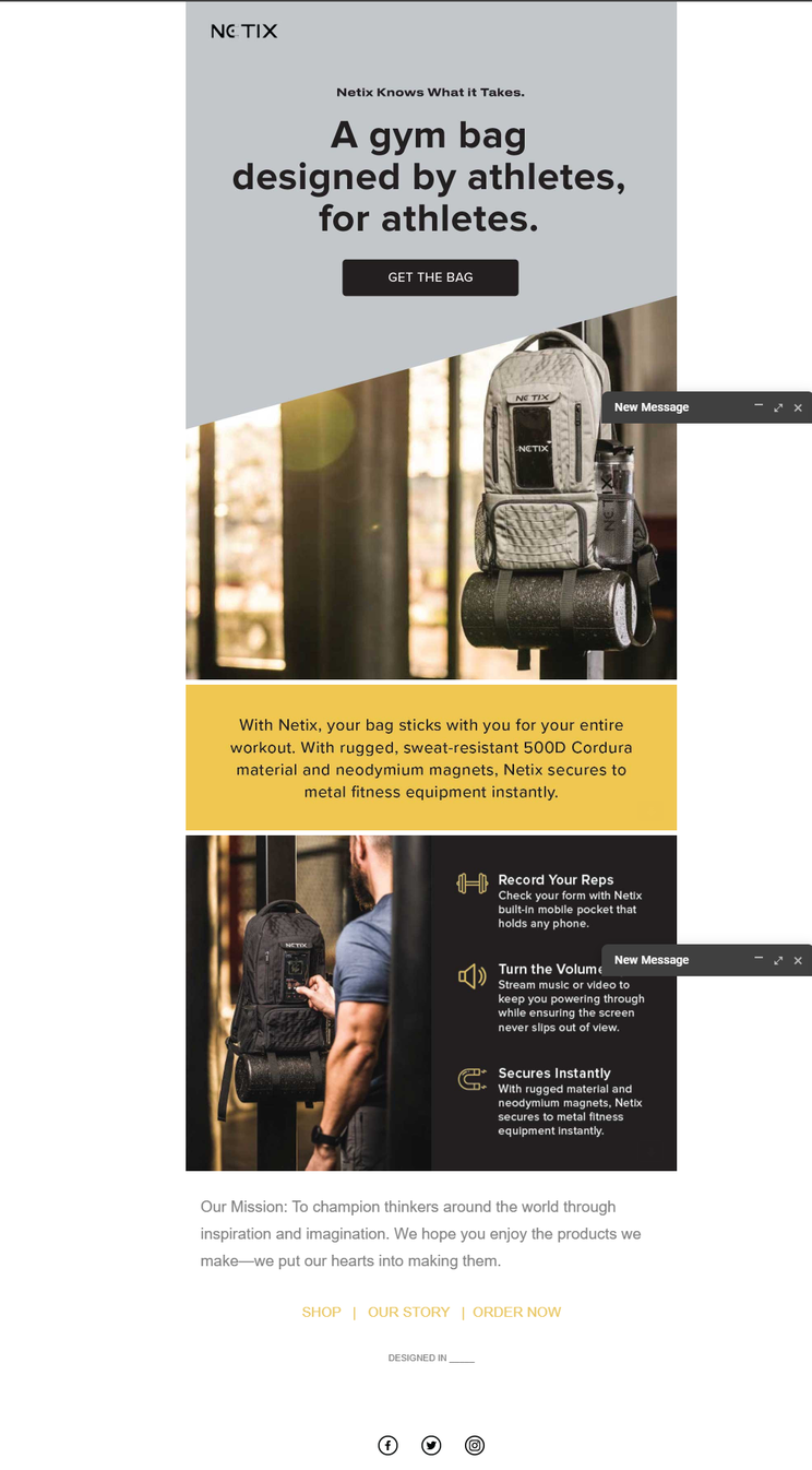 Image of NCTix newsletter with the text A gym bag designed by athletes, for athletes.
