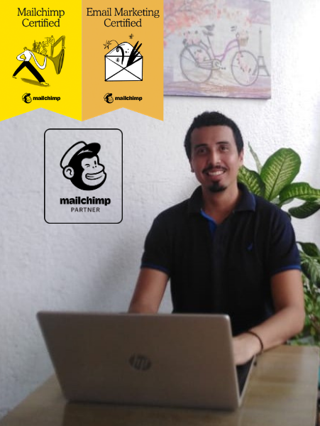 Photo of Oliver with 2 Mailchimp certifications