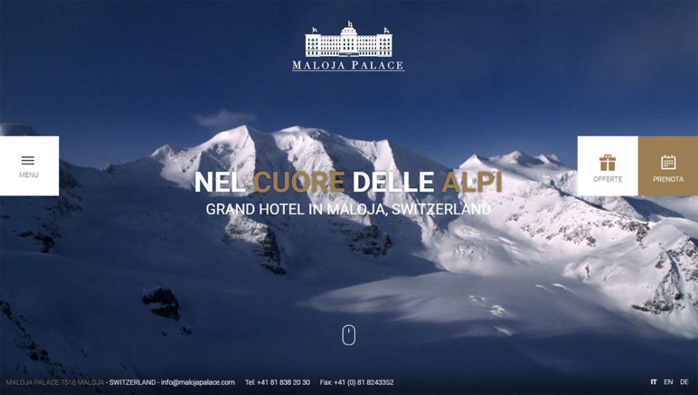 Image of website home page with text Nel Cuore Delle Alpi Grand hotel in Maloja, switzerland