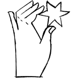 Hand holding star