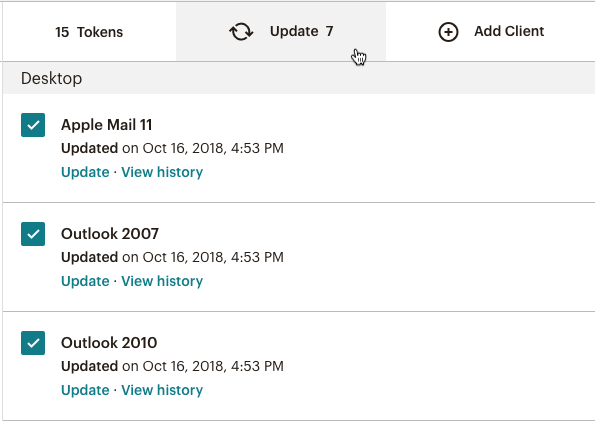 A screenshot of updating several Inbox Previews at once.