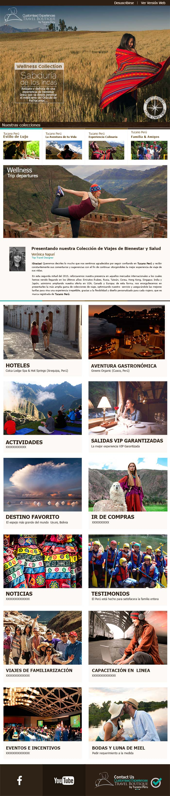 A custom email template design for Tucano Peru