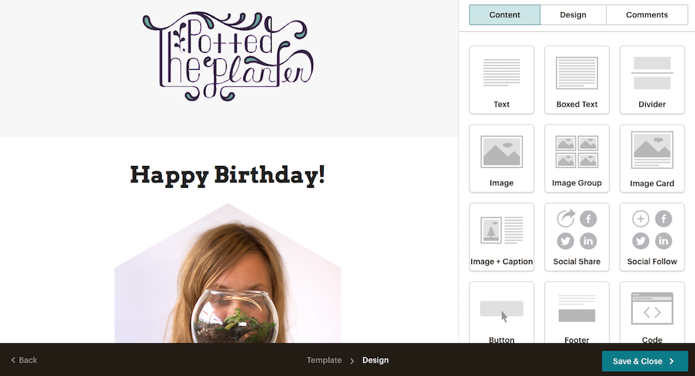 A Screenshot Of An Example Happy Birthday Campaign Being Designed In Mailchimp