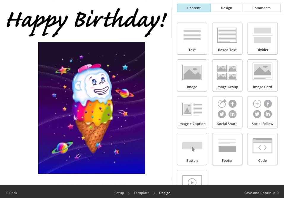 "A screenshot of an example ""Happy Birthday"" campaign being designed in Mailchimp"