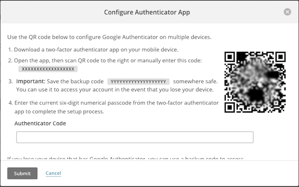 Pantalla de la ventana emergente Configure Google Authenticator (Configurar Google Authenticator).