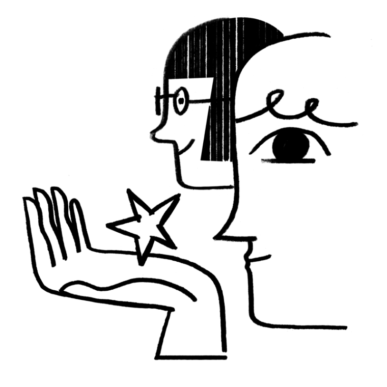 Illustration of two faces holding stars in their hands.