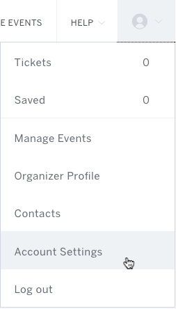Eventbrite account panel expanded with cursor selecting Account.