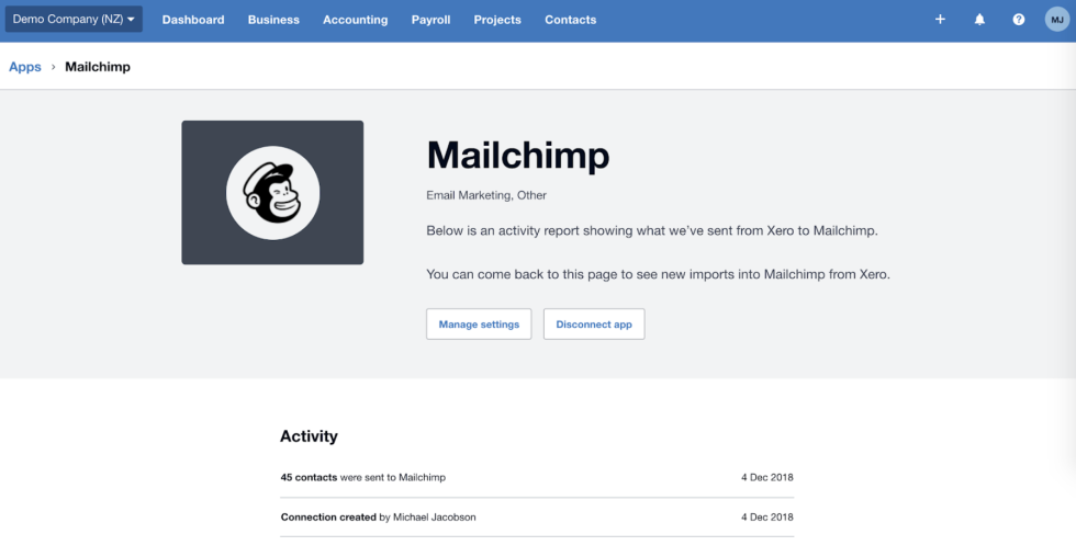 Image showing the interface of Xero for Mailchimp