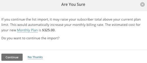 The Are You Sure confirmation modal for import billing
