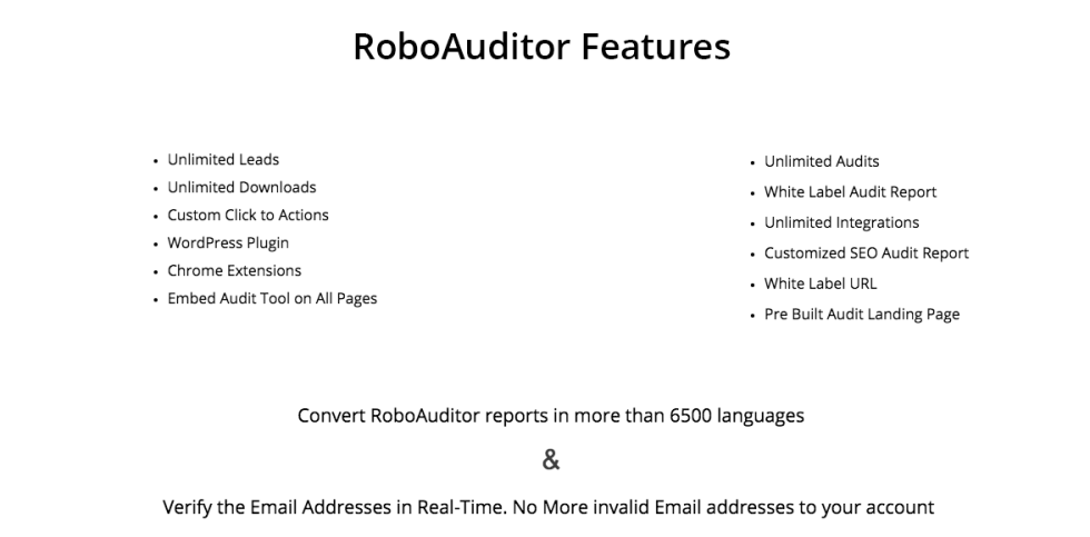 Image of list of roboautior features
