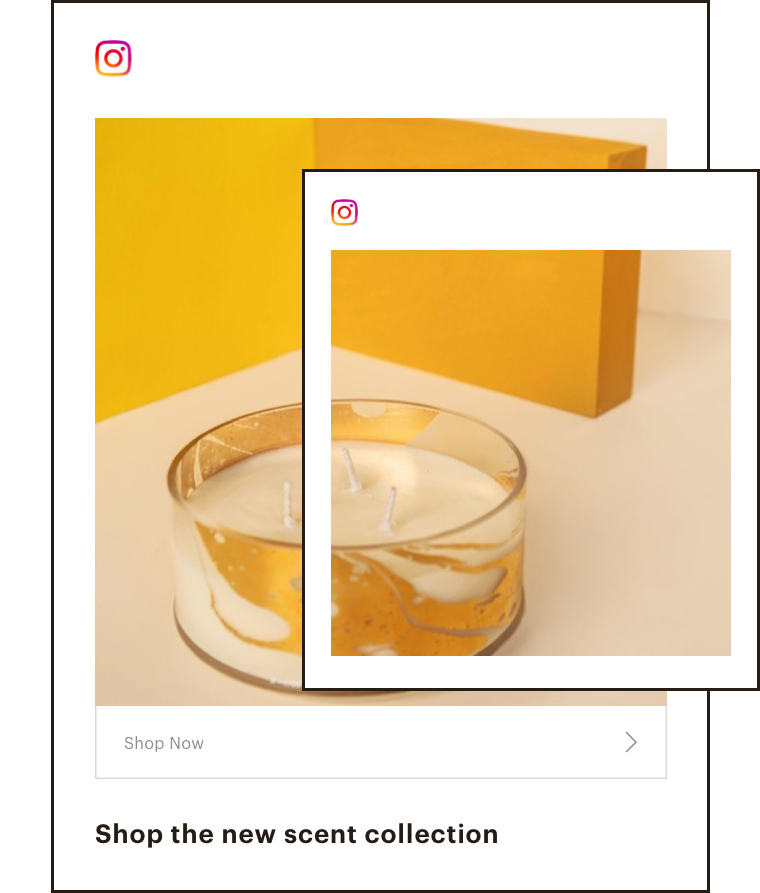 Abstract UI that shows an organic social post and ad layered on top of each other