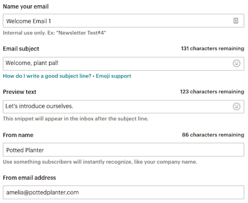 enter the subject line, preview text, from name, and from email address