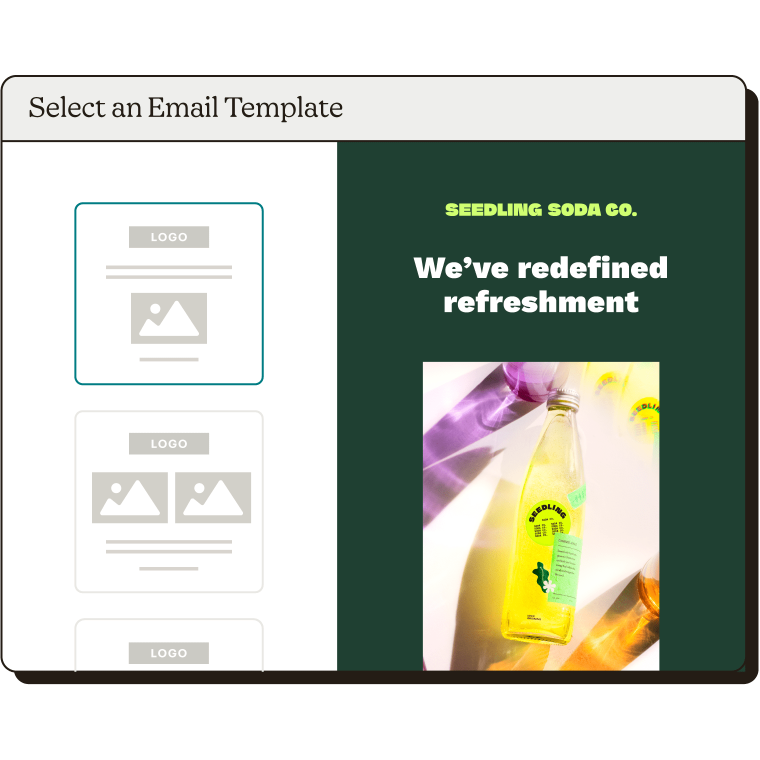 Selecting an email template.