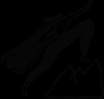 Illustration of superhero woman climbing mountain