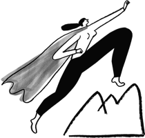 Illustration of superhero woman climbing mountain