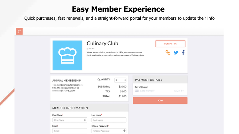 Image of purchase options  with text Easy Member experience