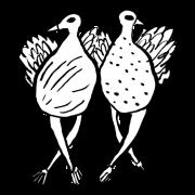 Doodle of two birds dancing.