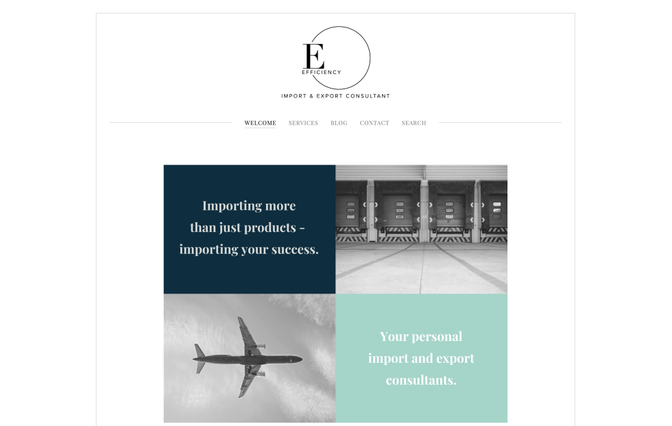The efficiency hub website homepage design. Black logo at top center of white background page. Graphic design at center of page depicts rectangle made up of 4 boxes. Top left box is text against navy background. Top right box is black and white image of truck loading area. Bottom left box is black and white image of airplane against cloudy sky. Bottom right box is text against mint green background.
