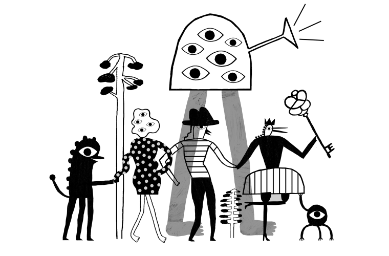 A group of characters walking by