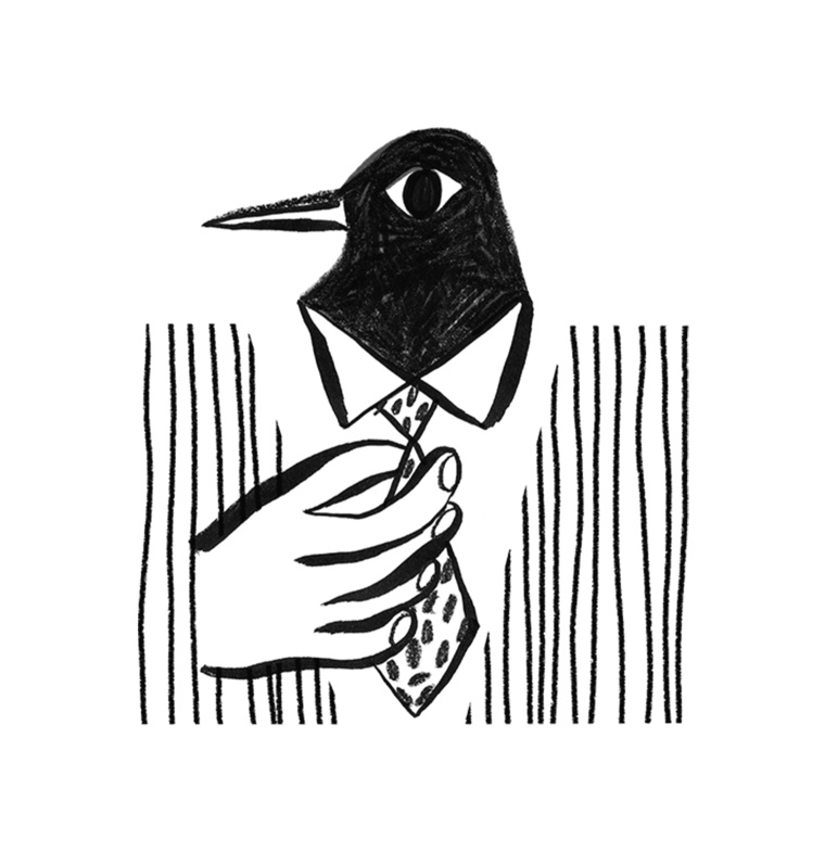 Illustration of a bird wearing a suit and tie