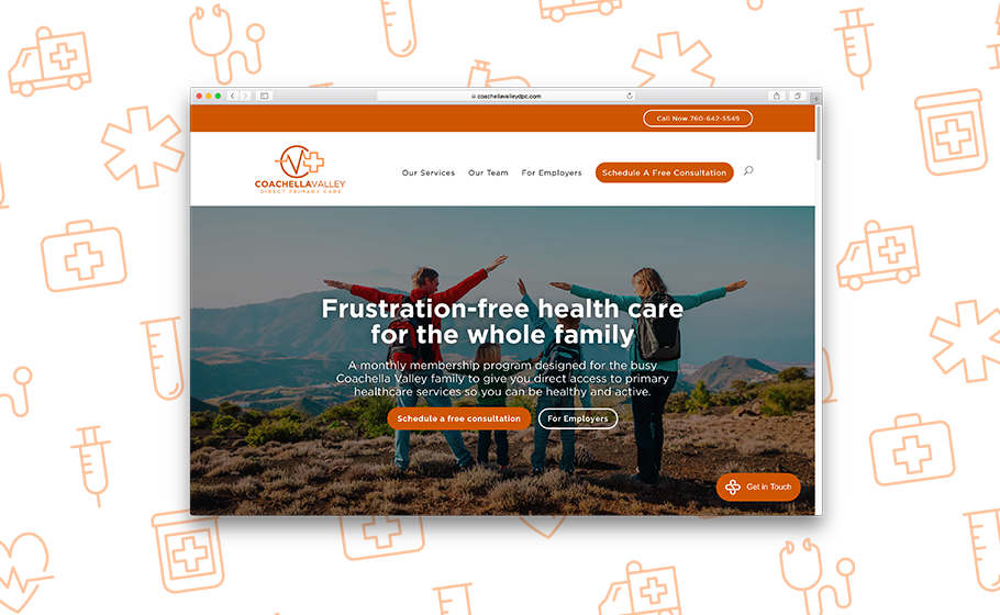 Image of a Coachella Valley website with the text Frustration free health care for the whole family.