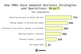 Brazil SMBs Changes made to business strategy or operations Exploring new ways to market and sell 77% Making changes to the business model 65% Investing in new skills, people, or processes 50% Reducing spend or resources 46% Business losses/closures 32% No changes made 3%