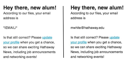 image showing merge tag in a campaign to bring in an email address