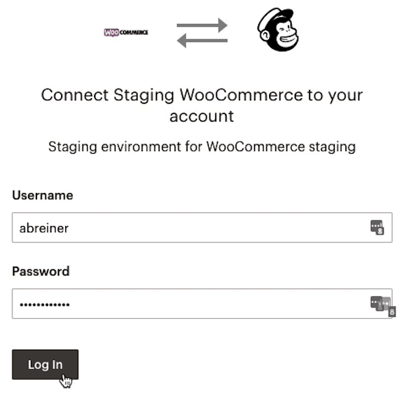 WooCommerce OAuth - Cliques do cursor - Log In