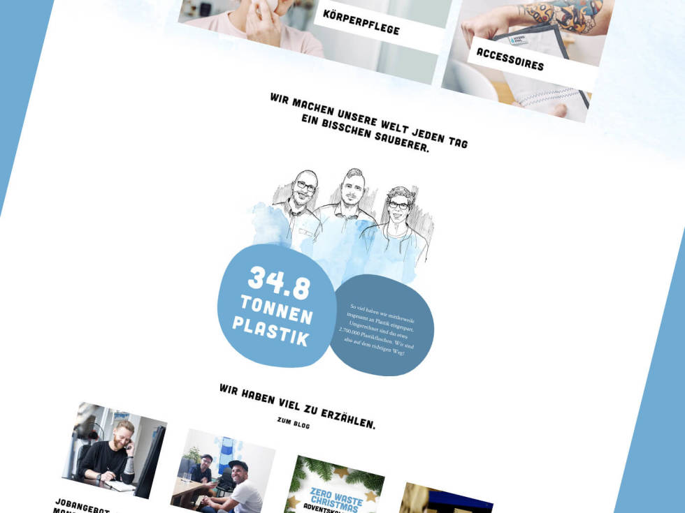 Template layout featuring black and white illustrations of 3 women, bubble texts, images of products.