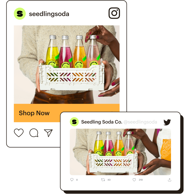 Examples of an Instagram ad and Twitter ad.