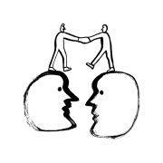 Illustration of two people shaking hands while standing on large heads