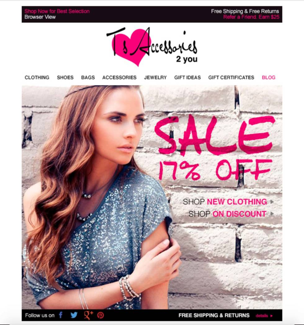 Newsletter campaign for clothing store. Features logo in the center and hyperlinks below. Photo of woman cut off at the waist posing. Text in pink font detailing promotional content to the right of her face.