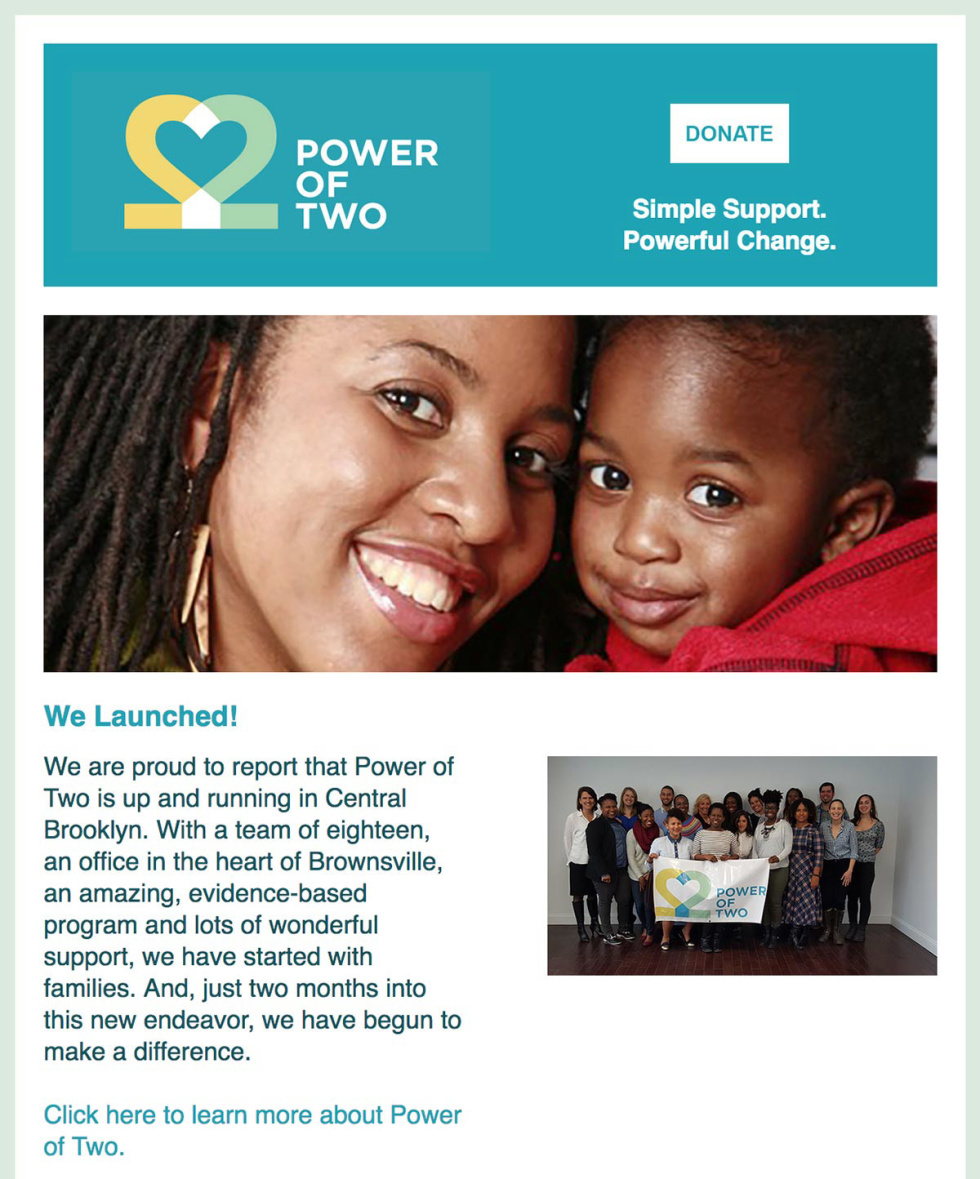 Image of Power of two newsletter campaign.