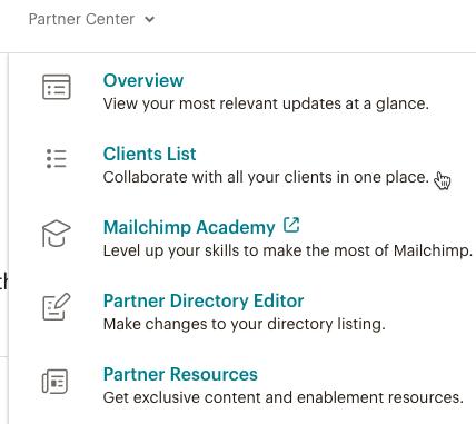 cursor clicks - client list - partner center