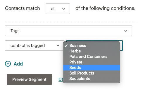 Shopware tags in segmentation