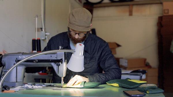 Brad sewing away